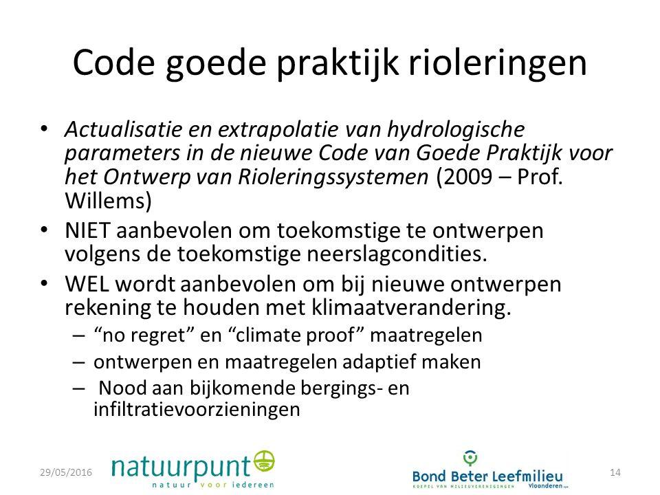 Code goede praktijk rioleringen Actualisatie en extrapolatie van hydrologische parameters in de nieuwe Code van Goede Praktijk voor het Ontwerp van Rioleringssystemen (2009 – Prof.