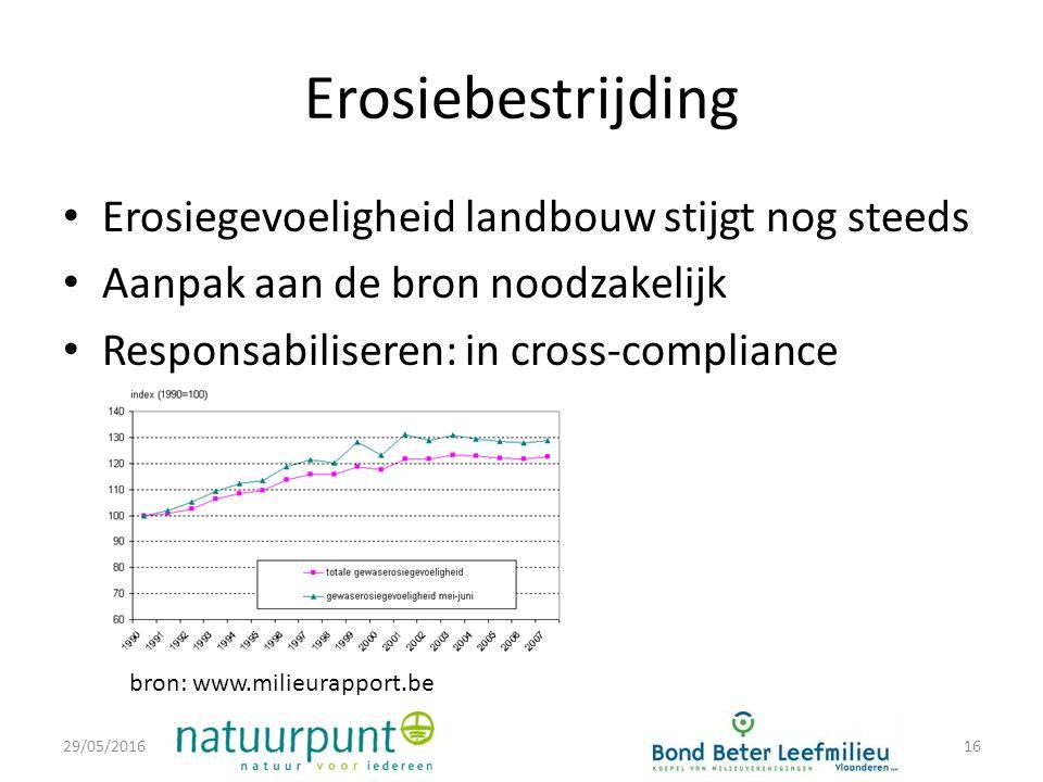 Erosiebestrijding Erosiegevoeligheid landbouw stijgt nog steeds Aanpak aan de bron noodzakelijk Responsabiliseren: in cross-compliance 29/05/201616 bron: www.milieurapport.be