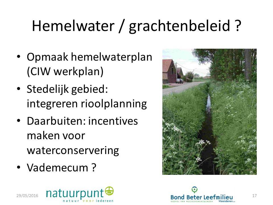 Hemelwater / grachtenbeleid .