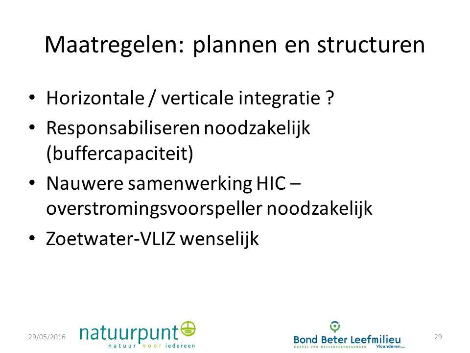 Maatregelen: plannen en structuren Horizontale / verticale integratie .
