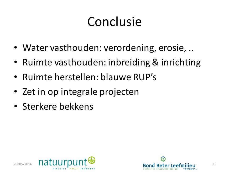 Conclusie Water vasthouden: verordening, erosie,..