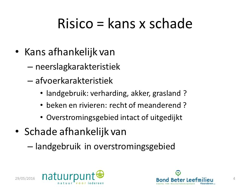 Risico = kans x schade Kans afhankelijk van – neerslagkarakteristiek – afvoerkarakteristiek landgebruik: verharding, akker, grasland .