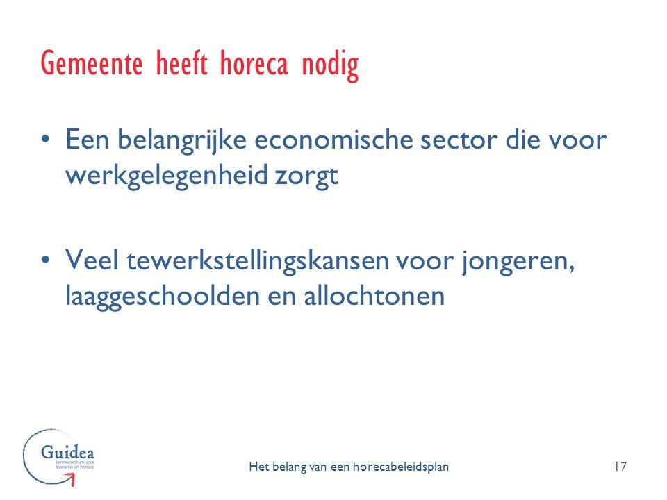 Een belangrijke economische sector die voor werkgelegenheid zorgt Veel tewerkstellingskansen voor jongeren, laaggeschoolden en allochtonen 17 Gemeente