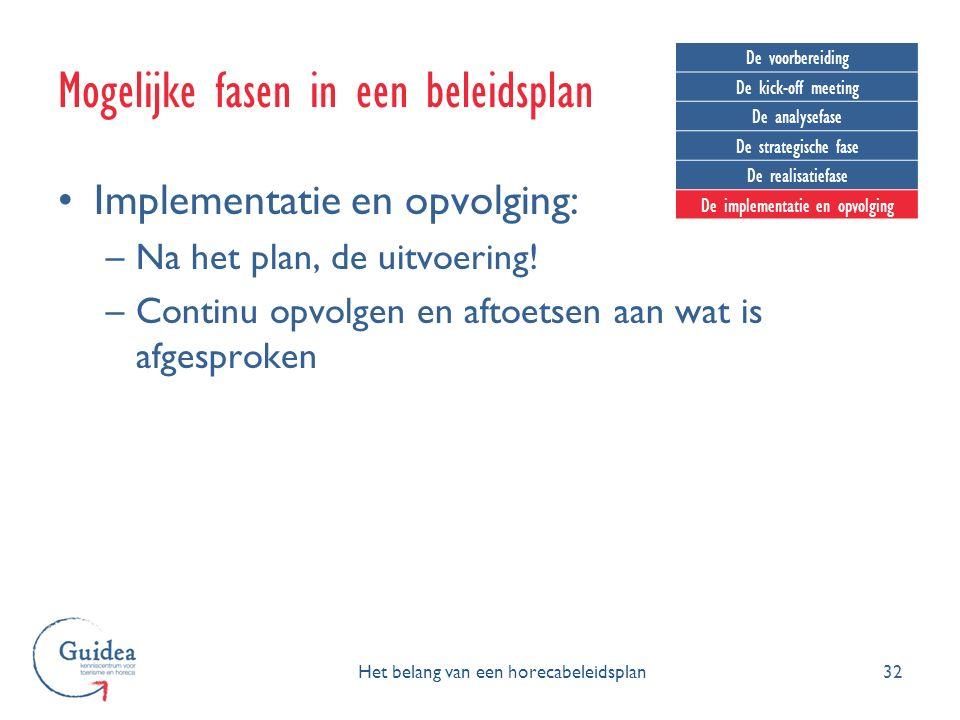 Implementatie en opvolging: –Na het plan, de uitvoering! –Continu opvolgen en aftoetsen aan wat is afgesproken 32 Mogelijke fasen in een beleidsplan H