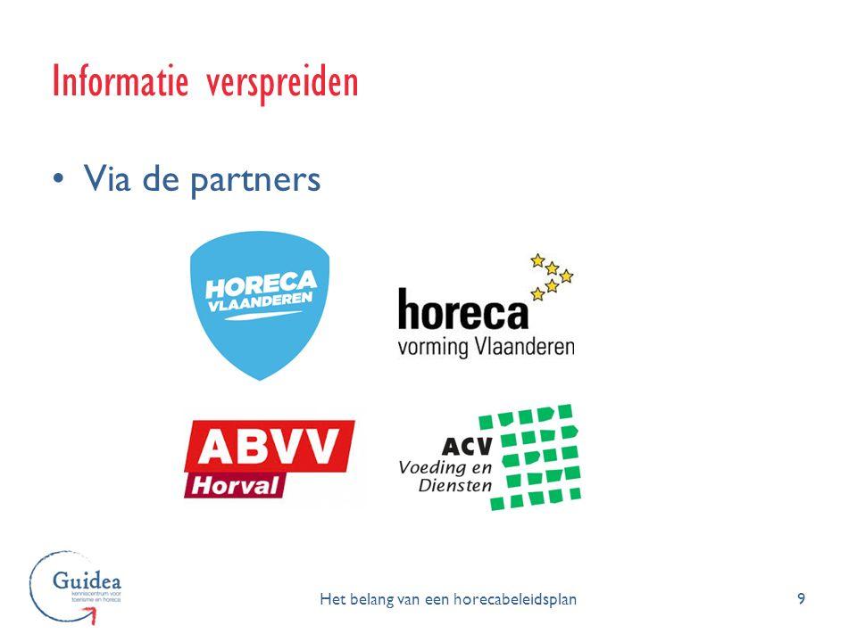 Informatie verspreiden 9 Via de partners Het belang van een horecabeleidsplan