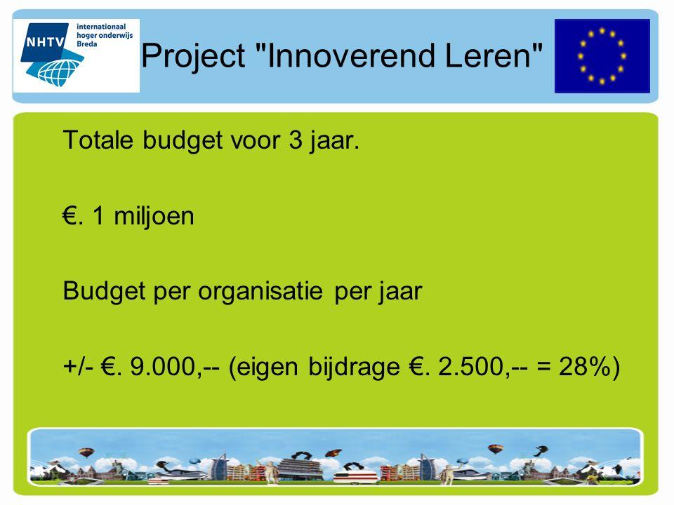 Project Innoverend Leren Totale budget voor 3 jaar.