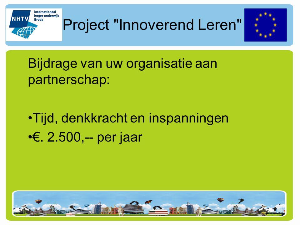 Project Innoverend Leren Bijdrage subsidiegevers.