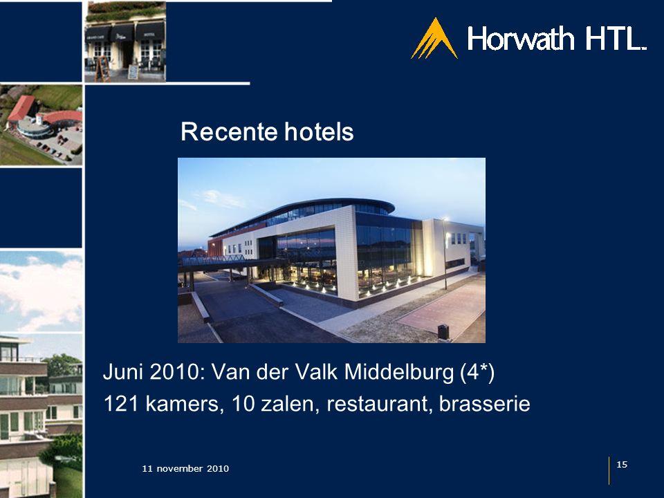 Recente hotels 11 november 2010 15 Juni 2010: Van der Valk Middelburg (4*) 121 kamers, 10 zalen, restaurant, brasserie