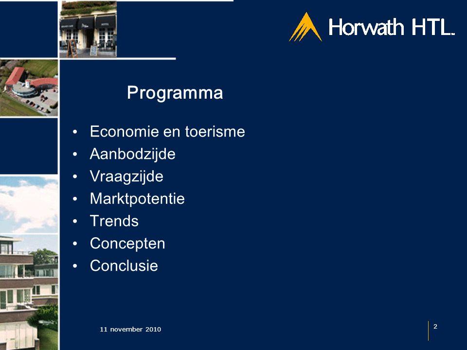 11 november 2010 2 Programma Economie en toerisme Aanbodzijde Vraagzijde Marktpotentie Trends Concepten Conclusie