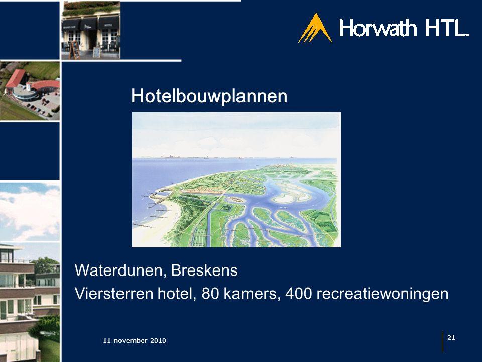 Hotelbouwplannen 11 november 2010 21 Waterdunen, Breskens Viersterren hotel, 80 kamers, 400 recreatiewoningen