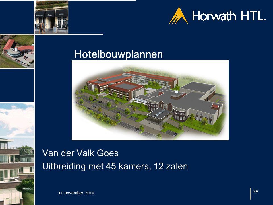 Hotelbouwplannen 11 november 2010 24 Van der Valk Goes Uitbreiding met 45 kamers, 12 zalen