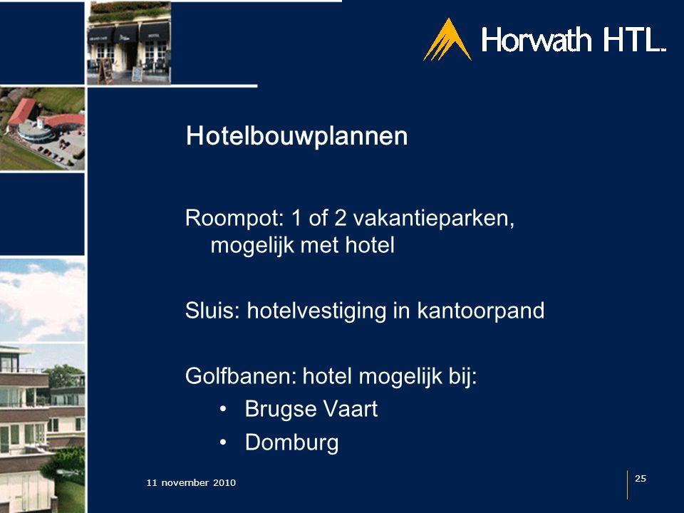 Hotelbouwplannen 11 november 2010 25 Roompot: 1 of 2 vakantieparken, mogelijk met hotel Sluis: hotelvestiging in kantoorpand Golfbanen: hotel mogelijk bij: Brugse Vaart Domburg