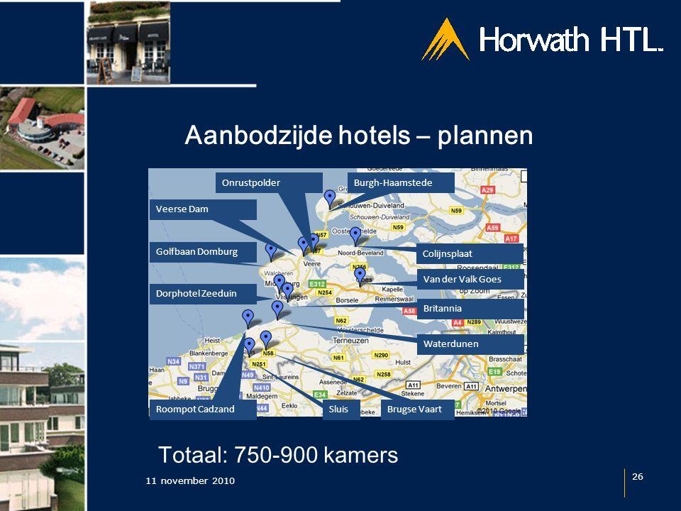 Aanbodzijde hotels – plannen 11 november 2010 26 Sluis Roompot Cadzand Brugse Vaart Colijnsplaat Burgh-Haamstede Van der Valk Goes Britannia Waterdune