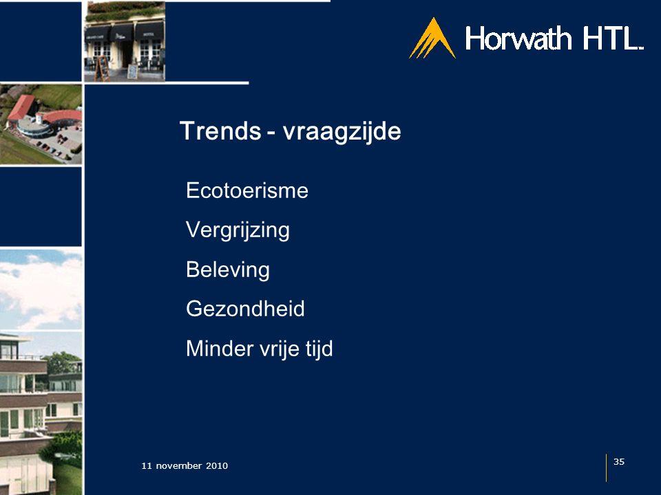 Trends - vraagzijde 11 november 2010 35 Ecotoerisme Vergrijzing Beleving Gezondheid Minder vrije tijd