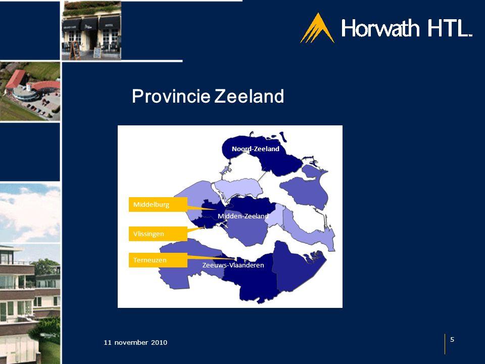 Provincie Zeeland 11 november 2010 5 Zeeuws-Vlaanderen Midden-Zeeland Noord-Zeeland Terneuzen Middelburg Vlissingen