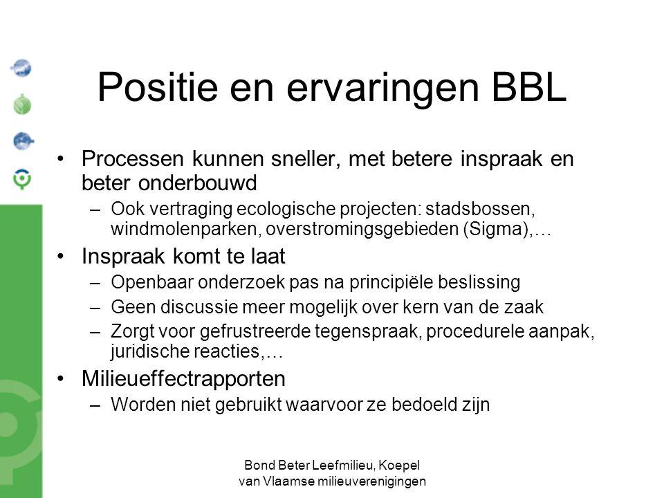 Bond Beter Leefmilieu, Koepel van Vlaamse milieuverenigingen Positie en ervaringen BBL Processen kunnen sneller, met betere inspraak en beter onderbou