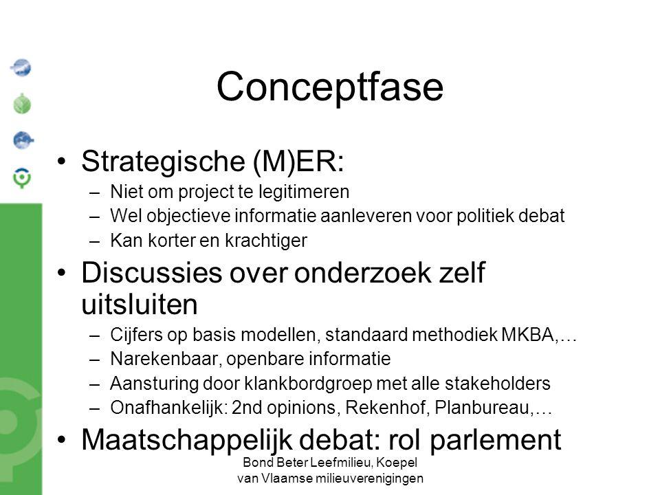Bond Beter Leefmilieu, Koepel van Vlaamse milieuverenigingen Conceptfase Strategische (M)ER: –Niet om project te legitimeren –Wel objectieve informati