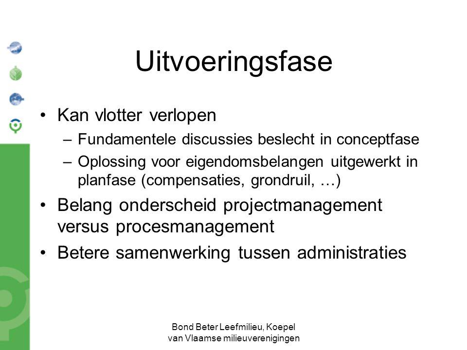 Bond Beter Leefmilieu, Koepel van Vlaamse milieuverenigingen Uitvoeringsfase Kan vlotter verlopen –Fundamentele discussies beslecht in conceptfase –Op