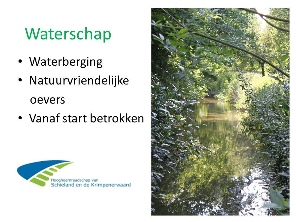 Waterschap Waterberging Natuurvriendelijke oevers Vanaf start betrokken
