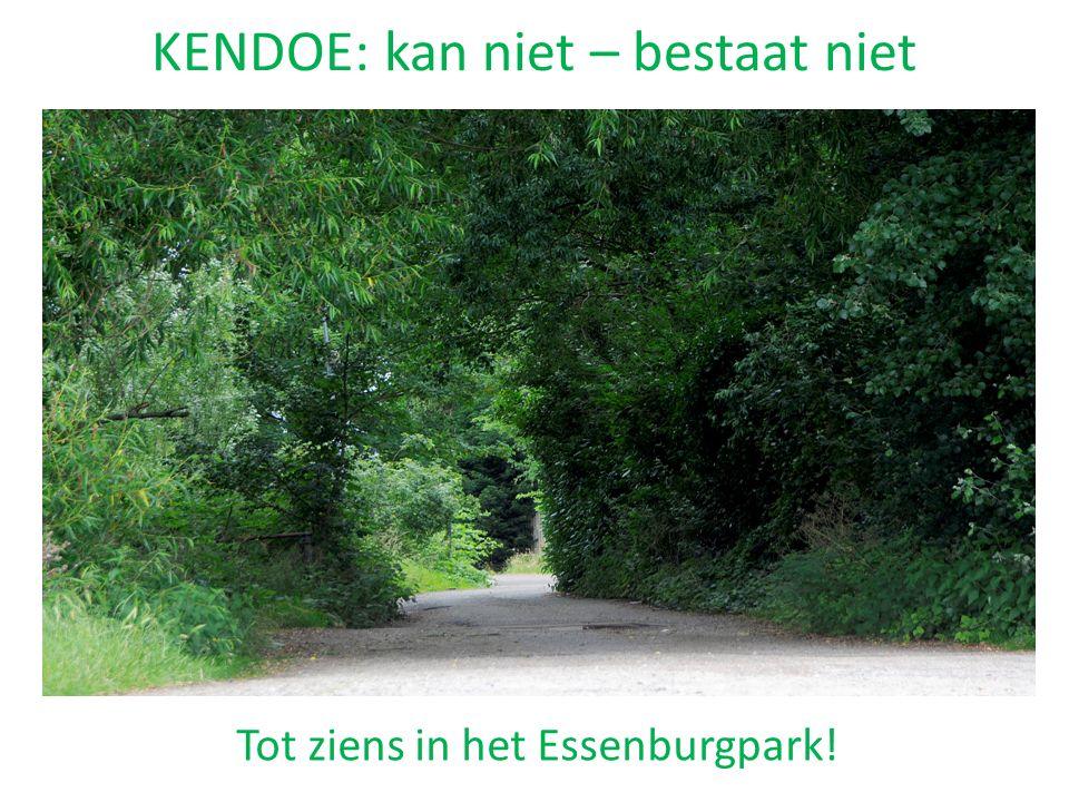 KENDOE: kan niet – bestaat niet Tot ziens in het Essenburgpark!