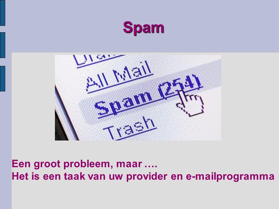 Een groot probleem, maar …. Het is een taak van uw provider en e-mailprogramma Spam