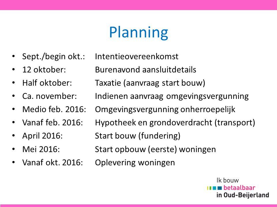 Planning Sept./begin okt.:Intentieovereenkomst 12 oktober:Burenavond aansluitdetails Half oktober:Taxatie (aanvraag start bouw) Ca. november:Indienen