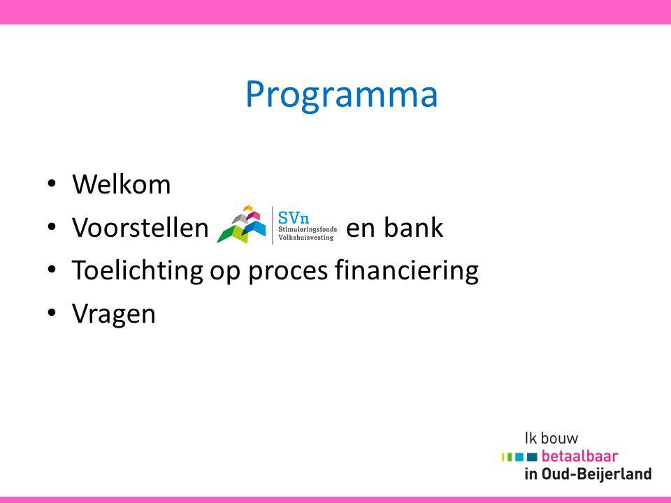 Programma Welkom Voorstellen Svn en bank Toelichting op proces financiering Vragen