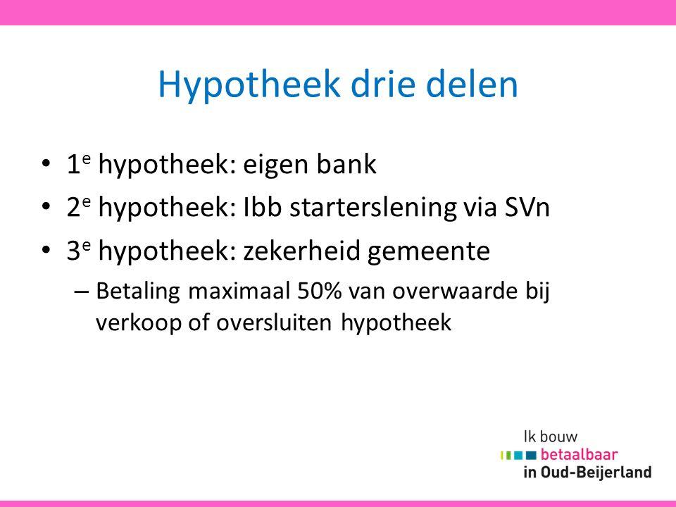 Hypotheek drie delen 1 e hypotheek: eigen bank 2 e hypotheek: Ibb starterslening via SVn 3 e hypotheek: zekerheid gemeente – Betaling maximaal 50% van