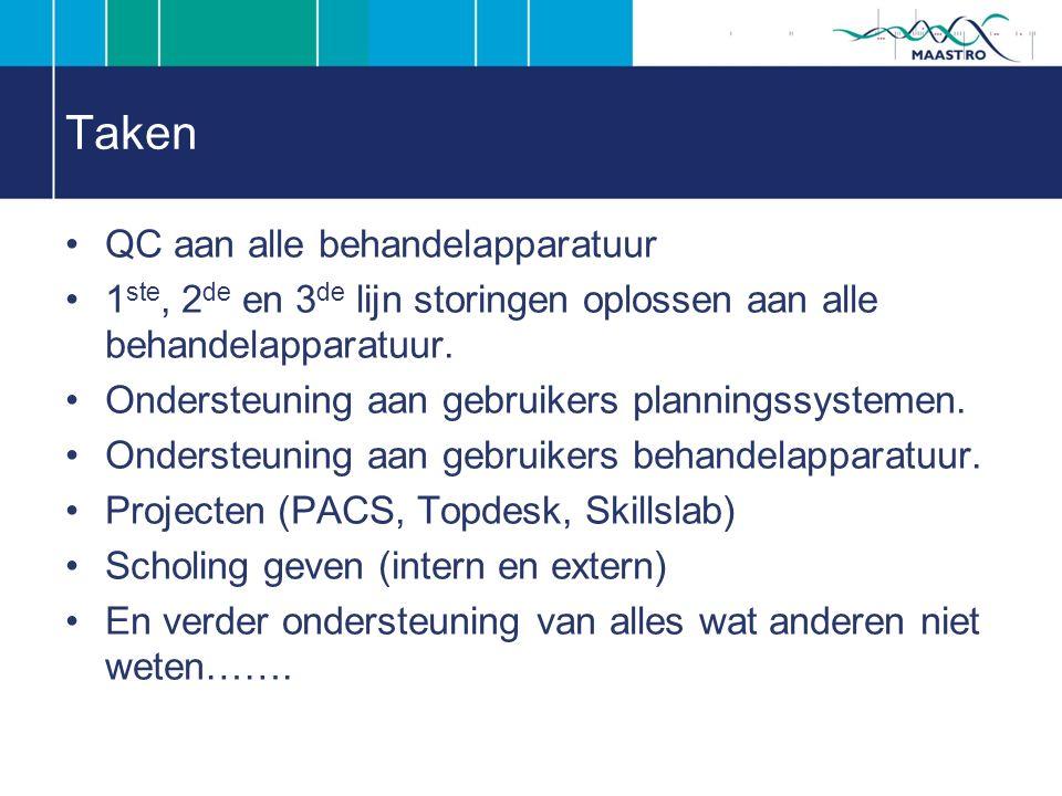 Taken QC aan alle behandelapparatuur 1 ste, 2 de en 3 de lijn storingen oplossen aan alle behandelapparatuur.