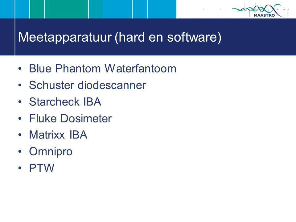 Meetapparatuur (hard en software) Blue Phantom Waterfantoom Schuster diodescanner Starcheck IBA Fluke Dosimeter Matrixx IBA Omnipro PTW