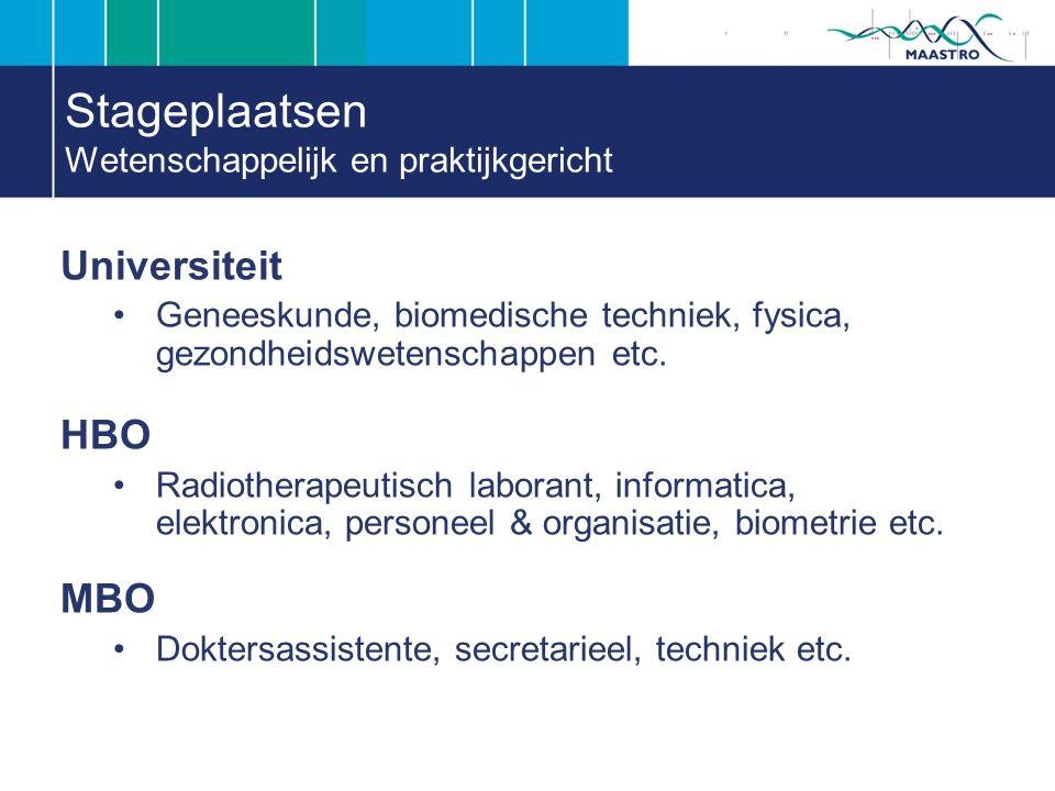 Stageplaatsen Wetenschappelijk en praktijkgericht Universiteit Geneeskunde, biomedische techniek, fysica, gezondheidswetenschappen etc.
