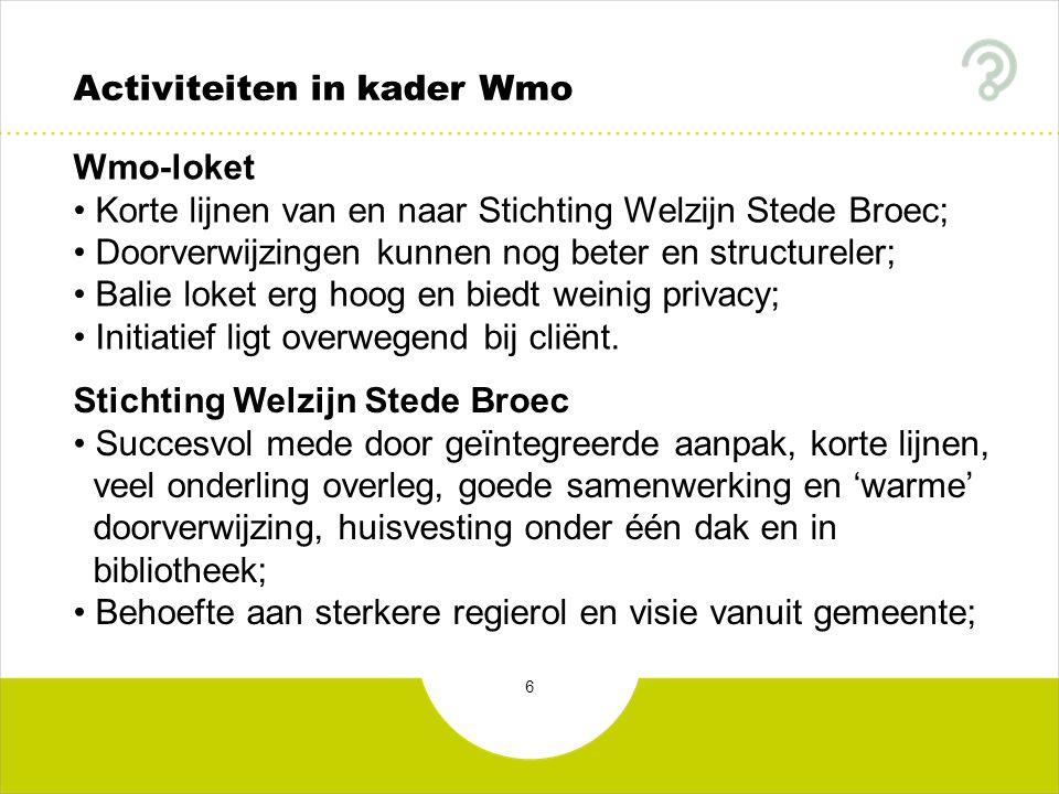 6 Activiteiten in kader Wmo Wmo-loket Korte lijnen van en naar Stichting Welzijn Stede Broec; Doorverwijzingen kunnen nog beter en structureler; Balie