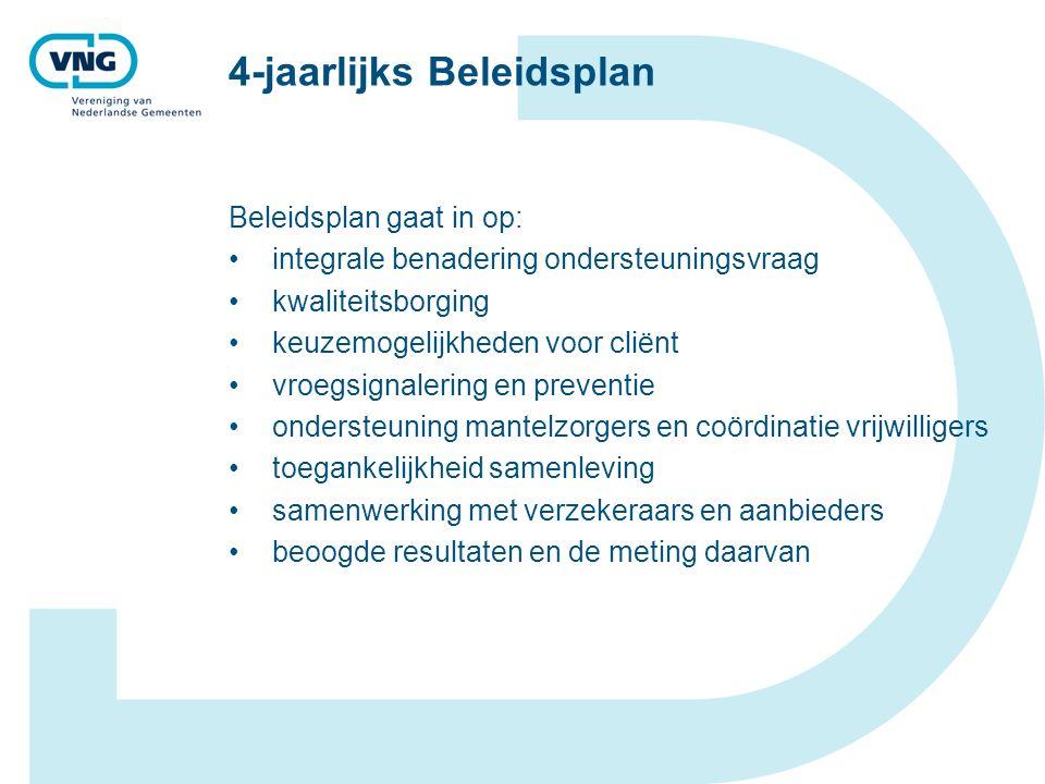4-jaarlijks Beleidsplan Beleidsplan gaat in op: integrale benadering ondersteuningsvraag kwaliteitsborging keuzemogelijkheden voor cliënt vroegsignalering en preventie ondersteuning mantelzorgers en coördinatie vrijwilligers toegankelijkheid samenleving samenwerking met verzekeraars en aanbieders beoogde resultaten en de meting daarvan