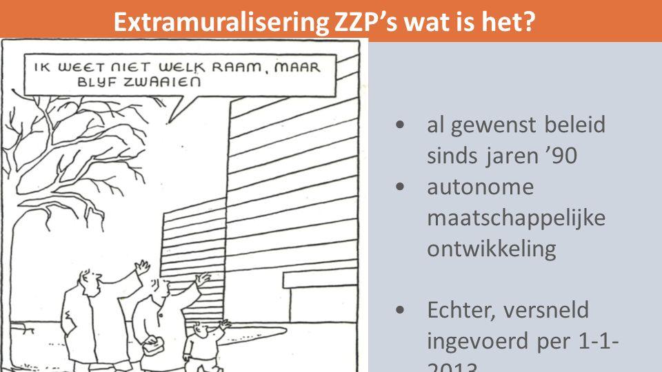 al gewenst beleid sinds jaren '90 autonome maatschappelijke ontwikkeling Echter, versneld ingevoerd per 1-1- 2013 Extramuralisering ZZP's wat is het
