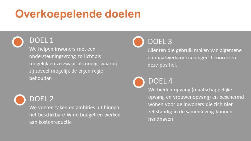 Overkoepelende doelen DOEL 1 We helpen inwoners met een ondersteuningsvraag zo licht als mogelijk en zo zwaar als nodig, waarbij zij zoveel mogelijk de eigen regie behouden DOEL 3 Cliënten die gebruik maken van algemene- en maatwerkvoorzieningen beoordelen deze positief.