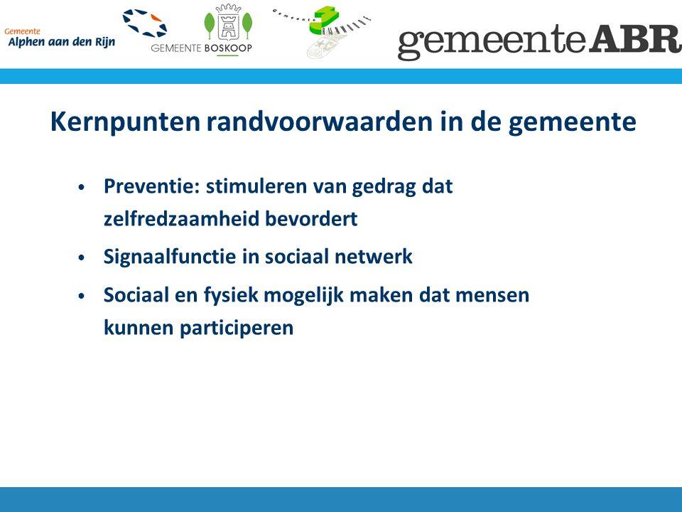 Kernpunten randvoorwaarden in de gemeente Preventie: stimuleren van gedrag dat zelfredzaamheid bevordert Signaalfunctie in sociaal netwerk Sociaal en fysiek mogelijk maken dat mensen kunnen participeren