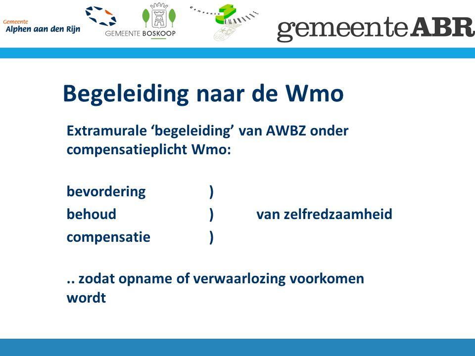 Uitbreiding Wmo groepsbegeleiding (dagbesteding) individuele begeleiding kortdurend verblijf (logeerhuis) Inloop GGZ Cliëntondersteuning door MEE (2015)