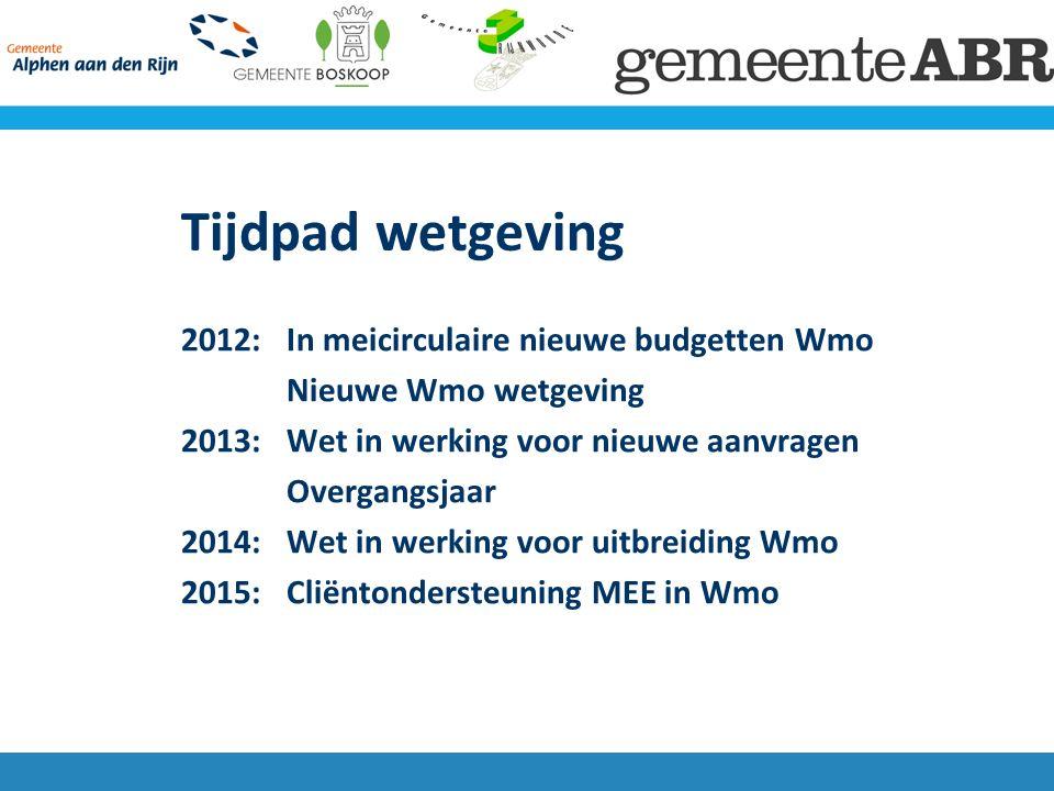 Tijdpad wetgeving 2012: In meicirculaire nieuwe budgetten Wmo Nieuwe Wmo wetgeving 2013: Wet in werking voor nieuwe aanvragen Overgangsjaar 2014:Wet in werking voor uitbreiding Wmo 2015: Cliëntondersteuning MEE in Wmo