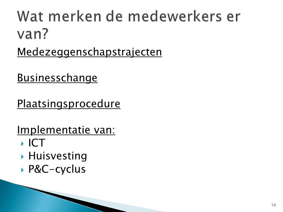Medezeggenschapstrajecten Businesschange Plaatsingsprocedure Implementatie van:  ICT  Huisvesting  P&C-cyclus 10