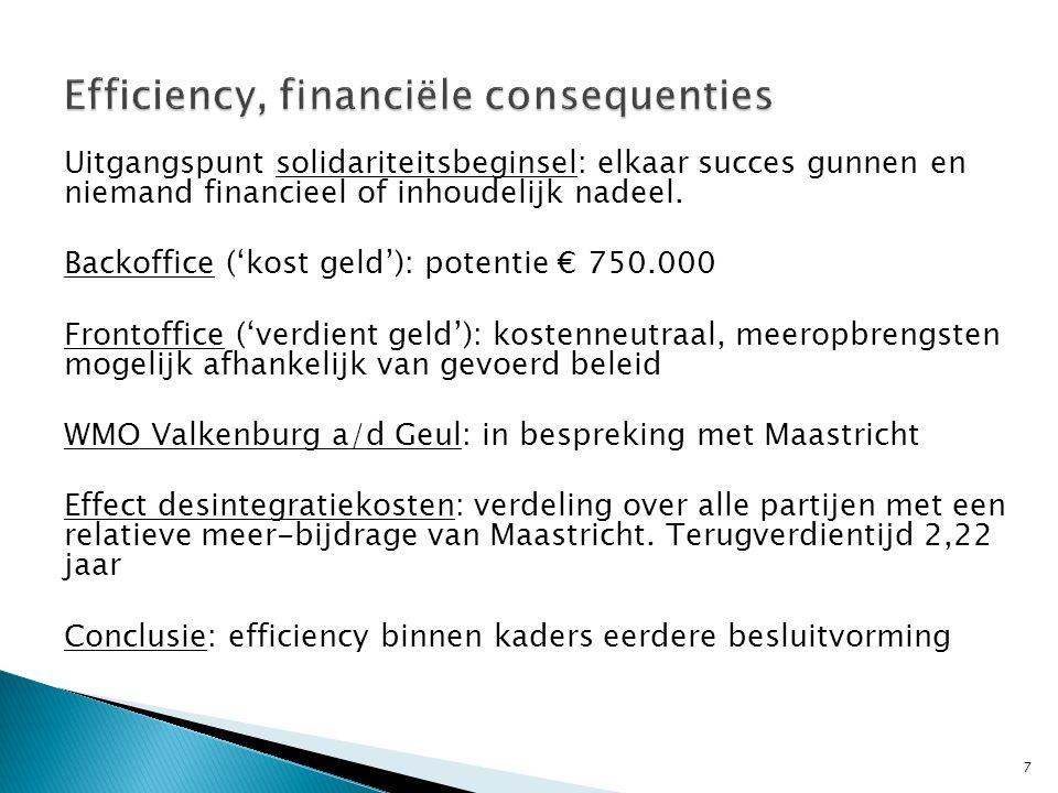 Uitgangspunt solidariteitsbeginsel: elkaar succes gunnen en niemand financieel of inhoudelijk nadeel.