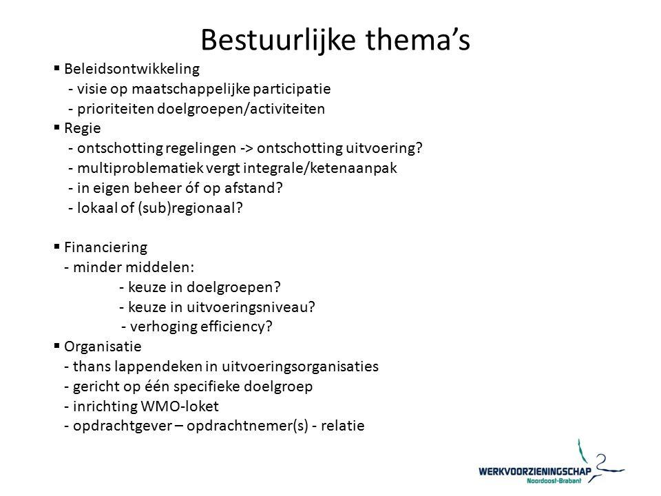 Bestuurlijke thema's  Beleidsontwikkeling - visie op maatschappelijke participatie - prioriteiten doelgroepen/activiteiten  Regie - ontschotting regelingen -> ontschotting uitvoering.