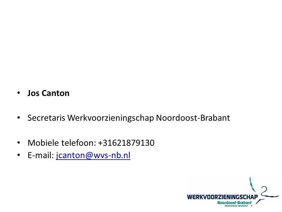 Jos Canton Secretaris Werkvoorzieningschap Noordoost-Brabant Mobiele telefoon: +31621879130 E-mail: jcanton@wvs-nb.nljcanton@wvs-nb.nl