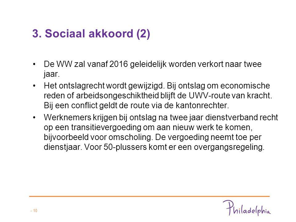 - 10 3. Sociaal akkoord (2) De WW zal vanaf 2016 geleidelijk worden verkort naar twee jaar.