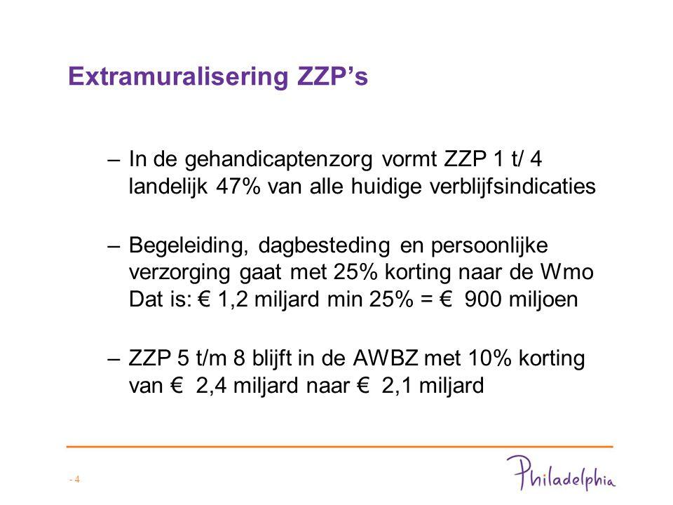 - 4 Extramuralisering ZZP's –In de gehandicaptenzorg vormt ZZP 1 t/ 4 landelijk 47% van alle huidige verblijfsindicaties –Begeleiding, dagbesteding en persoonlijke verzorging gaat met 25% korting naar de Wmo Dat is: € 1,2 miljard min 25% = € 900 miljoen –ZZP 5 t/m 8 blijft in de AWBZ met 10% korting van € 2,4 miljard naar € 2,1 miljard