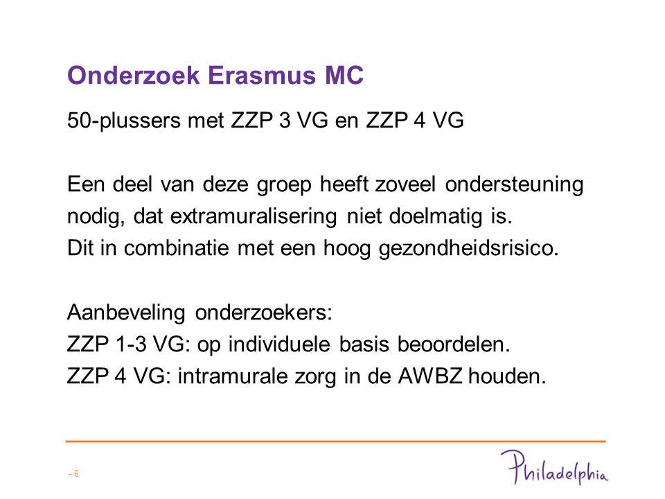 - 6 Onderzoek Erasmus MC 50-plussers met ZZP 3 VG en ZZP 4 VG Een deel van deze groep heeft zoveel ondersteuning nodig, dat extramuralisering niet doelmatig is.