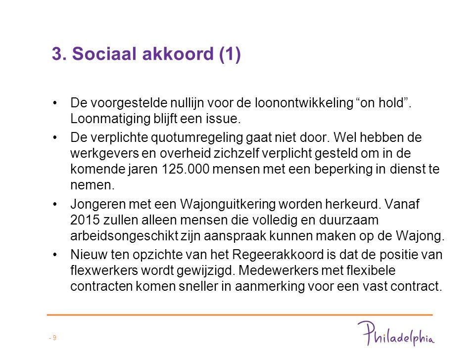 - 10 3.Sociaal akkoord (2) De WW zal vanaf 2016 geleidelijk worden verkort naar twee jaar.