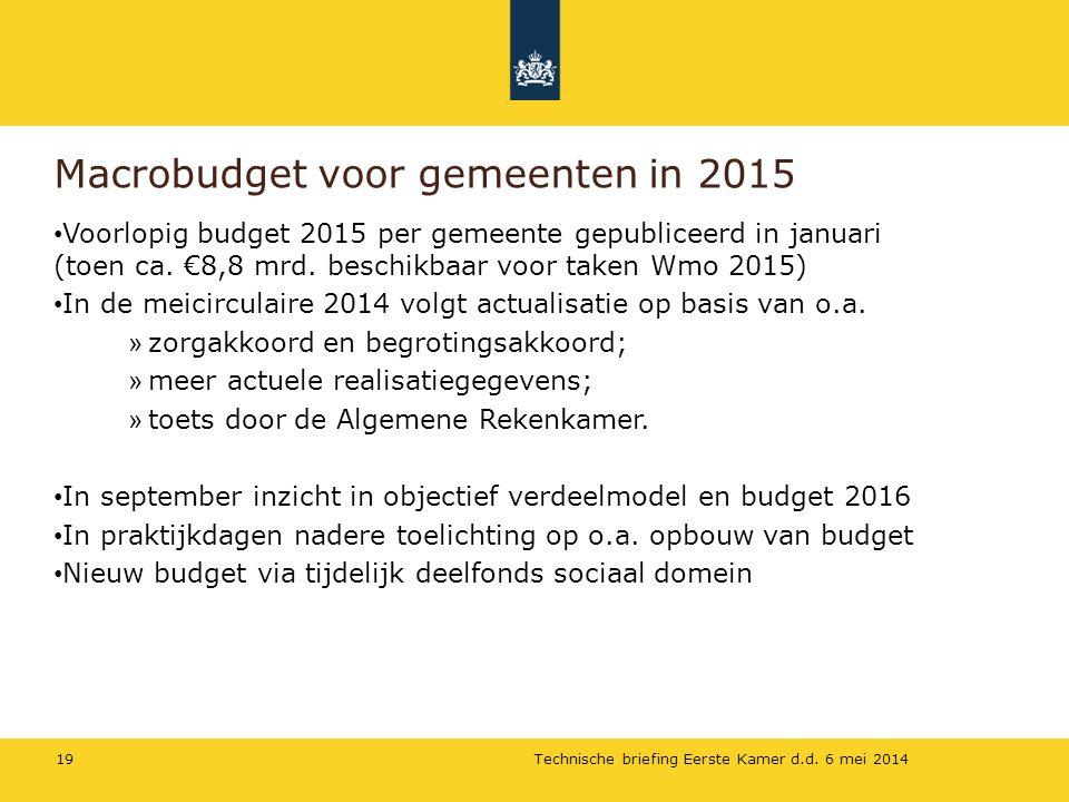 Macrobudget voor gemeenten in 2015 Technische briefing Eerste Kamer d.d.
