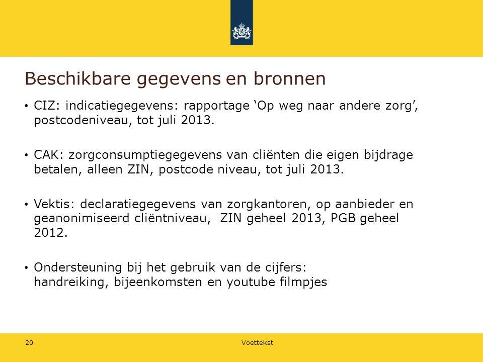 Beschikbare gegevens en bronnen CIZ: indicatiegegevens: rapportage 'Op weg naar andere zorg', postcodeniveau, tot juli 2013.