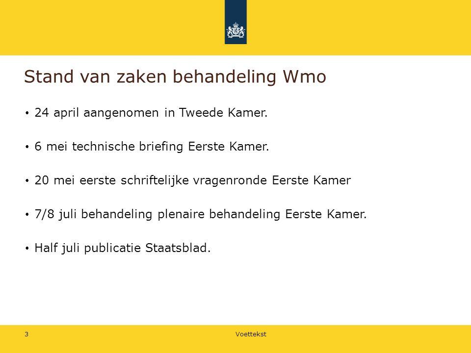 Stand van zaken behandeling Wmo 24 april aangenomen in Tweede Kamer.