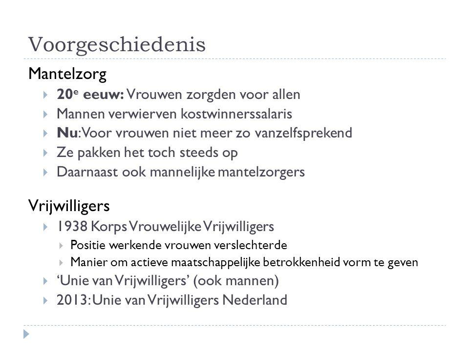 Voorgeschiedenis Mantelzorg  20 e eeuw: Vrouwen zorgden voor allen  Mannen verwierven kostwinnerssalaris  Nu: Voor vrouwen niet meer zo vanzelfsprekend  Ze pakken het toch steeds op  Daarnaast ook mannelijke mantelzorgers Vrijwilligers  1938 Korps Vrouwelijke Vrijwilligers  Positie werkende vrouwen verslechterde  Manier om actieve maatschappelijke betrokkenheid vorm te geven  'Unie van Vrijwilligers' (ook mannen)  2013: Unie van Vrijwilligers Nederland
